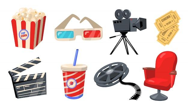 Verschiedene kino-, theater- und filmelemente Kostenlosen Vektoren