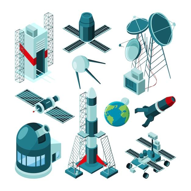 Verschiedene konstruktionen im raumfahrtzentrum für raketenstart. Premium Vektoren