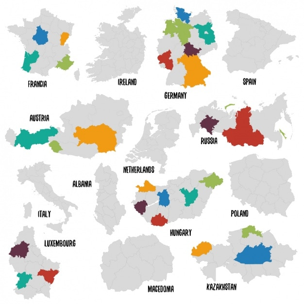 Verschiedene länder politische landkarte Kostenlosen Vektoren