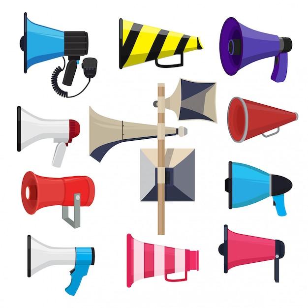 Verschiedene lautsprecher. symbole für die ankündigung Premium Vektoren