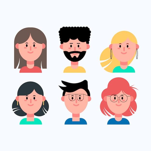 Verschiedene leute avatarsammlung Kostenlosen Vektoren