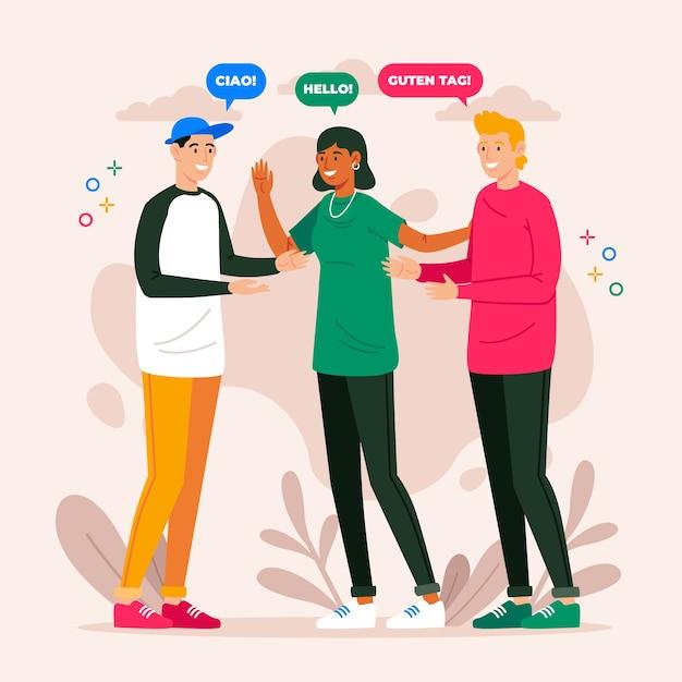 Verschiedene leute, die in verschiedenen sprachen sprechen Kostenlosen Vektoren