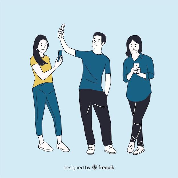 Verschiedene leute, die smartphones in der koreanischen zeichnungsart halten Kostenlosen Vektoren