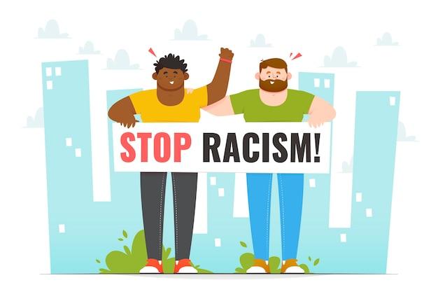 Verschiedene leute protestieren gegen rassismus Kostenlosen Vektoren