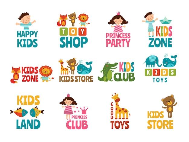 Verschiedene logos für kinder mit lustigen farbigen illustrationen Premium Vektoren