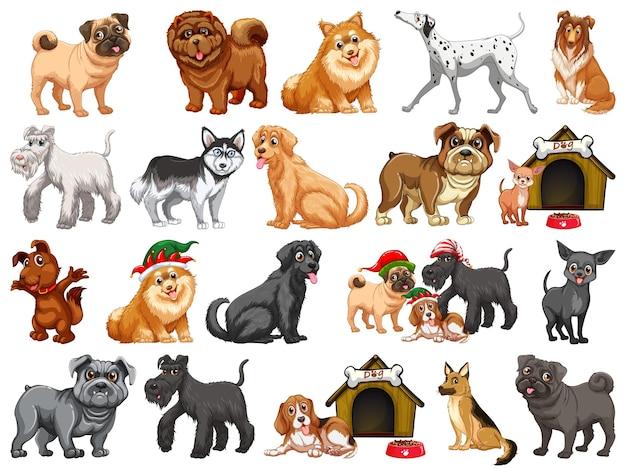 Verschiedene lustige hunde im karikaturstil lokalisiert auf weißem hintergrund Kostenlosen Vektoren
