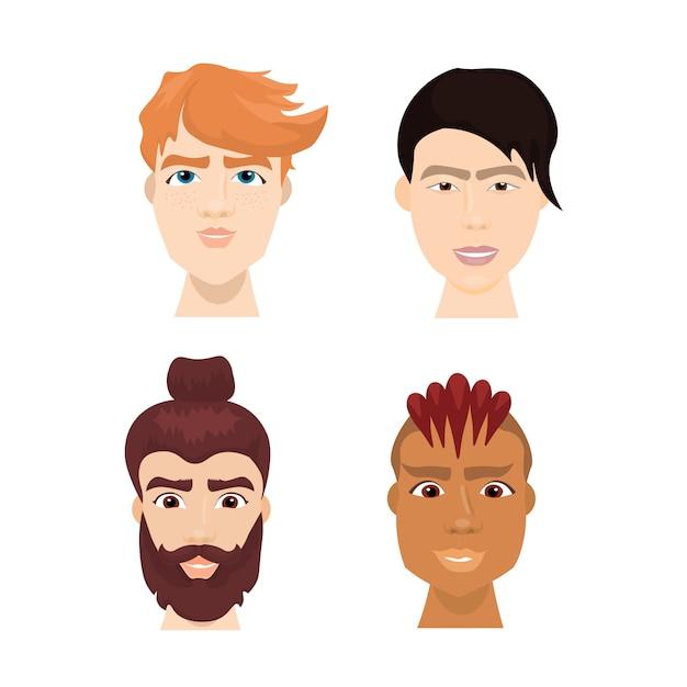 Verschiedene männliche gesichter des hippies eingestellt mit stilvollen bärten und haarschnitten lokalisierten avatar-sammlung Premium Vektoren