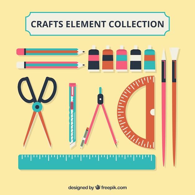 Verschiedene materialien für kunsthandwerk in flacher bauform Kostenlosen Vektoren