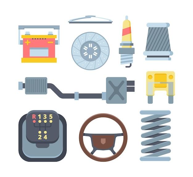 Verschiedene mechanische autoteile flache abbildungen gesetzt Premium Vektoren