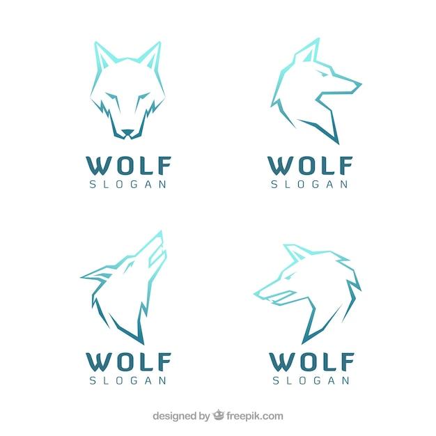 Verschiedene moderne logos der wölfe Kostenlosen Vektoren
