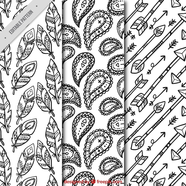 verschiedene muster von boho dekoration skizzen kostenlose vektoren - Boho Muster