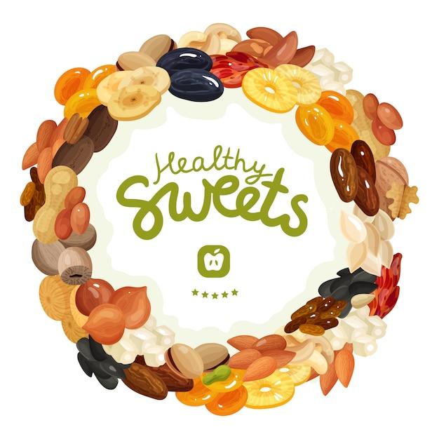 Verschiedene nüsse und getrocknete früchte Kostenlosen Vektoren