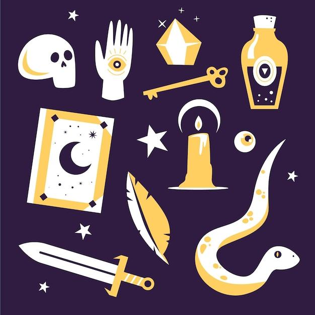 Verschiedene objekte und esoterische schlangenelemente Kostenlosen Vektoren