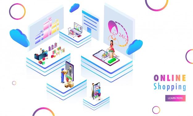 Verschiedene online-shopping-plattformen. Premium Vektoren