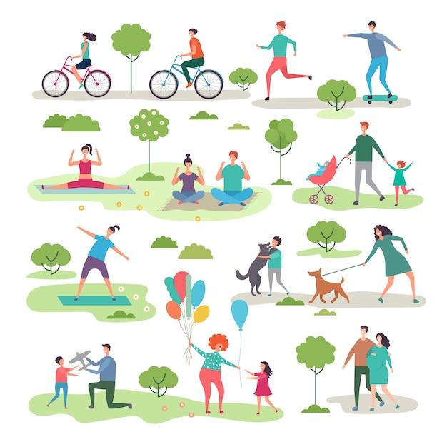 Verschiedene outdoor-aktivitäten im stadtpark Premium Vektoren