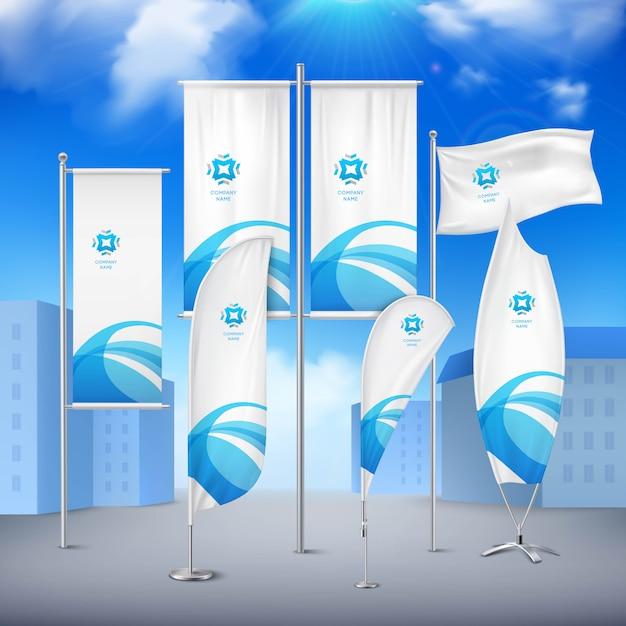 Verschiedene pole-flaggen-fahnensammlung mit blauem emblem für ereignismitteilung Kostenlosen Vektoren