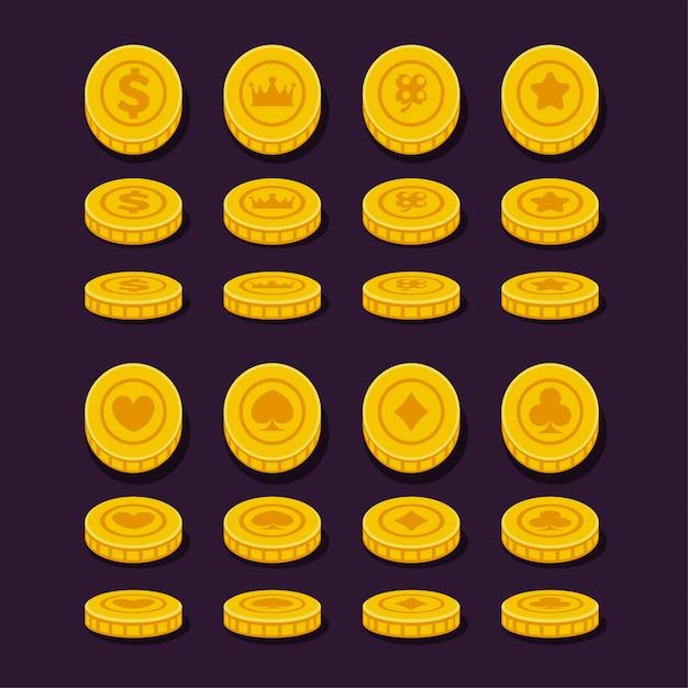 Verschiedene positionsmünzen für spiel, flaches design. Premium Vektoren