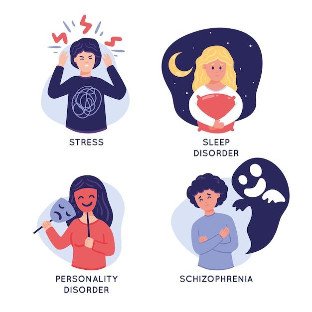 Verschiedene psychische störungen Premium Vektoren