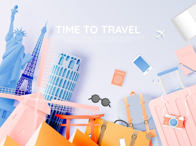 Verschiedene reiseanziehungskräfte im papierkunststil Premium Vektoren