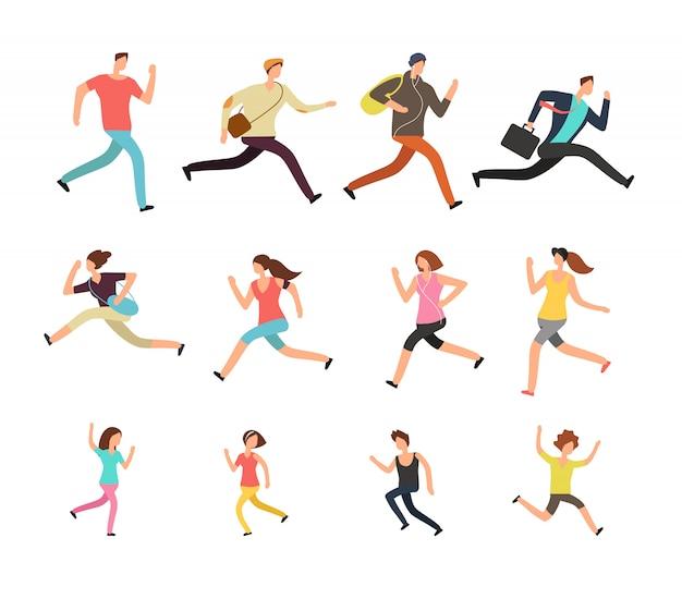 Verschiedene rennende leute. beeilender aktiver mann, frau und kindervektorsatz Premium Vektoren