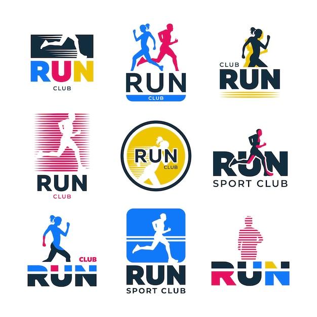 Verschiedene retro running flat logo set. bunte schattenbilder der läufer und athleten, die marathonvektorillustrationssammlung joggen. sportverein, aktiver lebensstil und bewegung Kostenlosen Vektoren