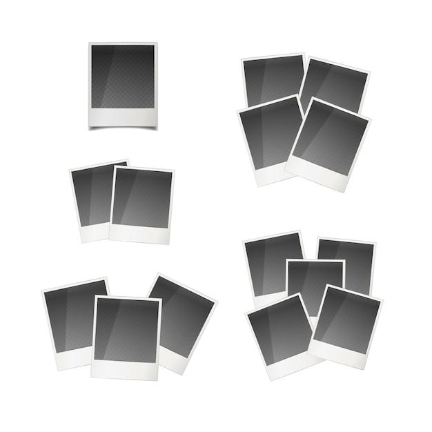 Verschiedene retro- sofortige fotokarten getrennt auf weiß Premium Vektoren