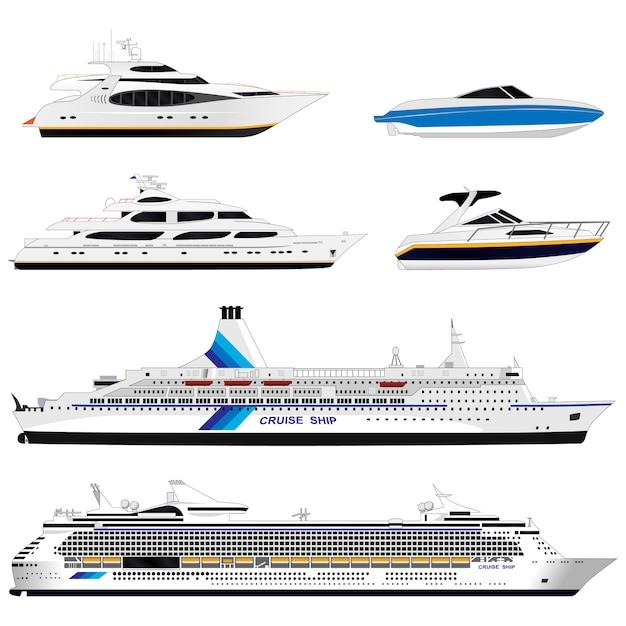 Verschiedene schiffe. einstellen Premium Vektoren