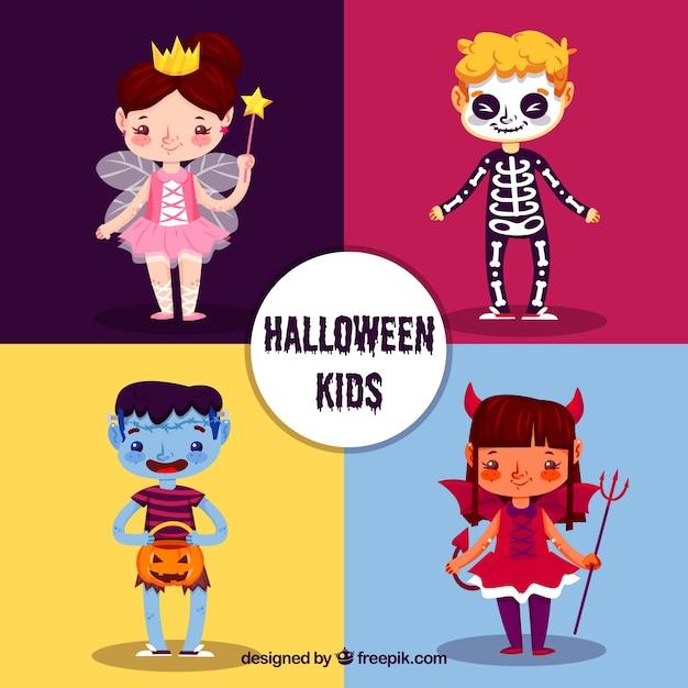 Verschiedene schöne halloween-charaktere Kostenlosen Vektoren
