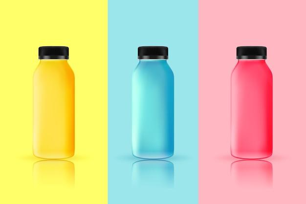 Verschiedene smoothies flaschen packen Kostenlosen Vektoren
