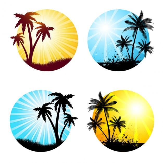 Verschiedene sommer szenen mit palmen Kostenlosen Vektoren