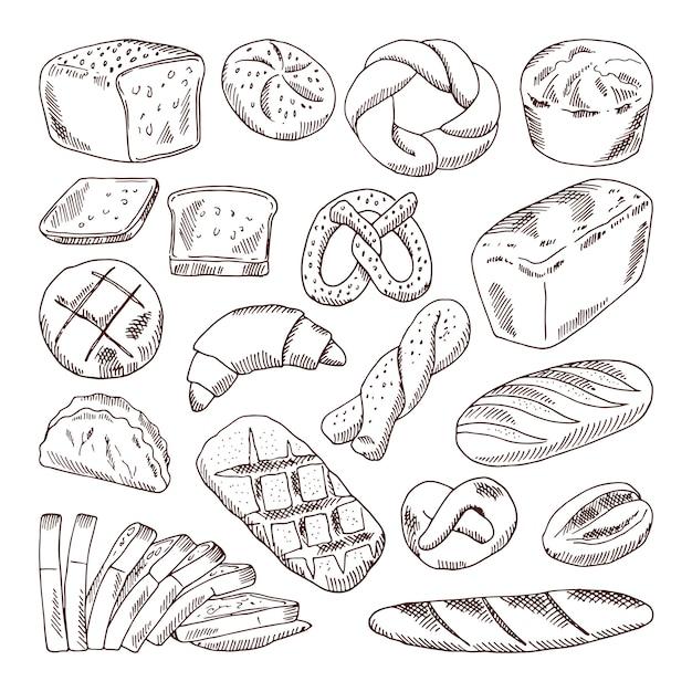 Verschiedene sorten frisches brot. gezeichnete illustrationen des vektors hand von bäckereilebensmitteln Premium Vektoren