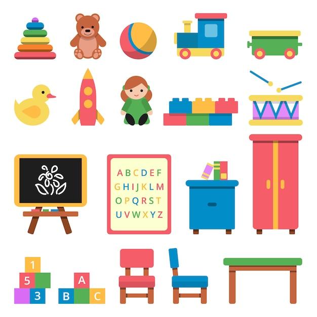 Verschiedene spielzeuge für kinder im vorschulalter Premium Vektoren