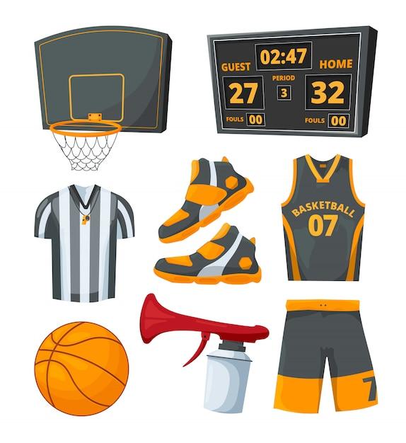 Verschiedene sportsymbole von basketbällen. Premium Vektoren