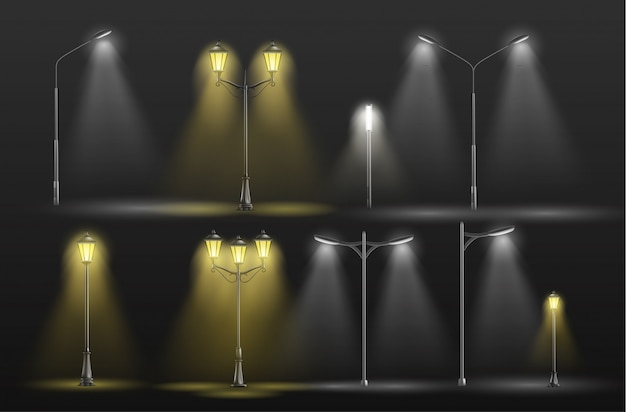 Verschiedene stadtstraßenlaternen, die in warmes und kaltes weißes licht der dunkelheit gelb glühen Kostenlosen Vektoren