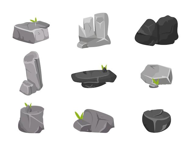 Verschiedene steine lokalisiert auf weiß Premium Vektoren