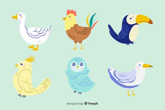 Verschiedene süße illustrierte tiere festgelegt Kostenlosen Vektoren