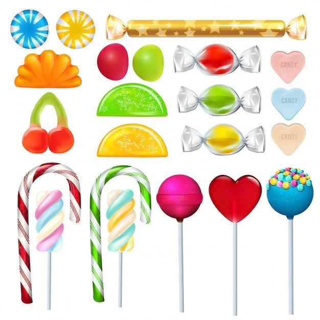 Verschiedene süßigkeiten und bonbons aus zucker. Premium Vektoren