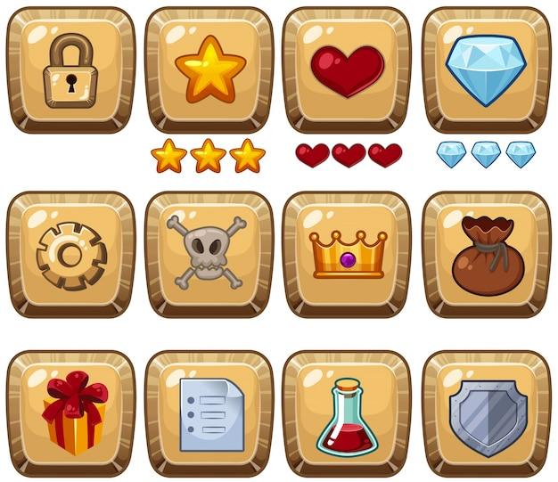 Verschiedene symbole auf quadratischen abzeichen Premium Vektoren