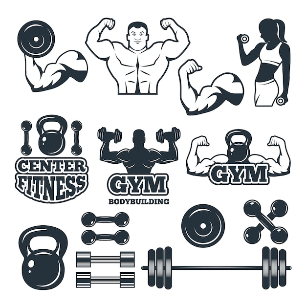 Verschiedene symbole und abzeichen für fitnessclub festgelegt Premium Vektoren