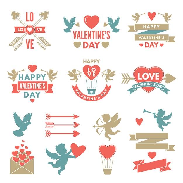 Verschiedene symbole und etiketten für den valentinstag Premium Vektoren