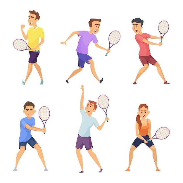 Verschiedene tennisspieler. vektorzeichen in den tätigkeitshaltungen Premium Vektoren