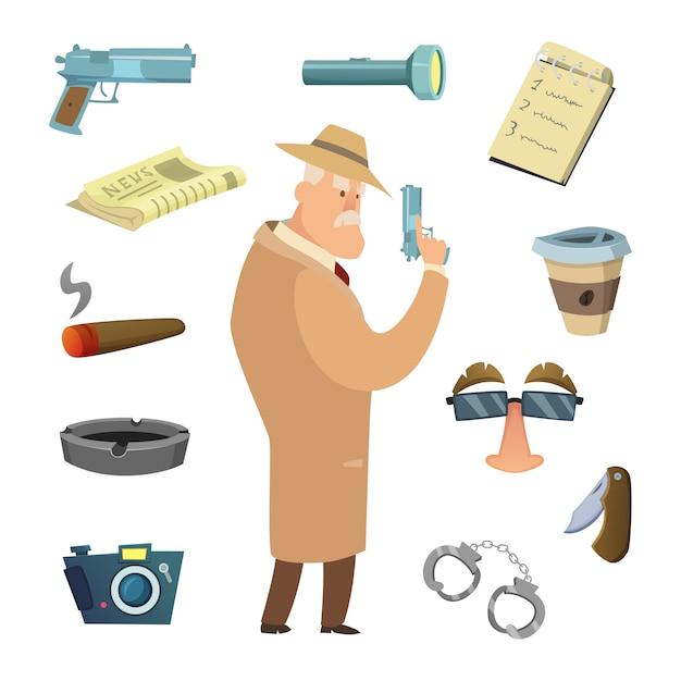 Verschiedene tools für detektiv Premium Vektoren