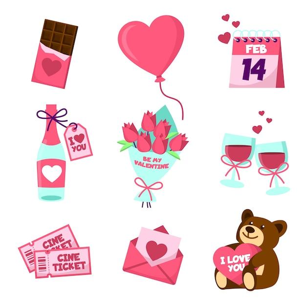 Verschiedene valentinstagelemente Kostenlosen Vektoren