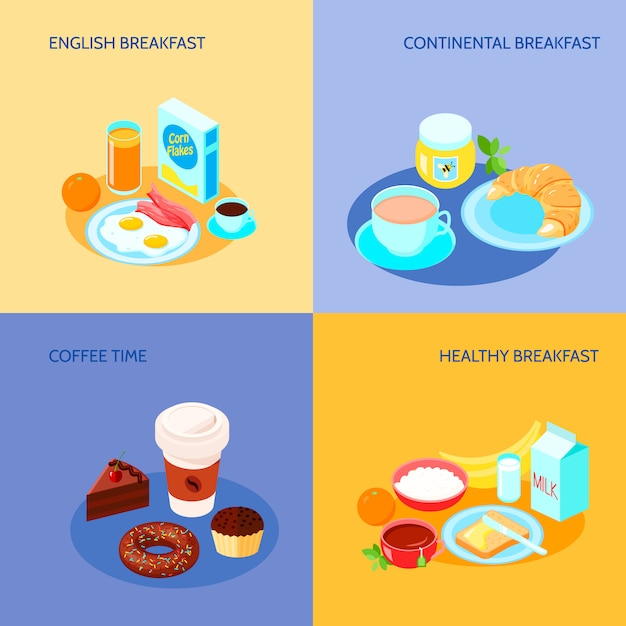 Verschiedene varianten des flachen fahnensets der frühstücksikonen Kostenlosen Vektoren