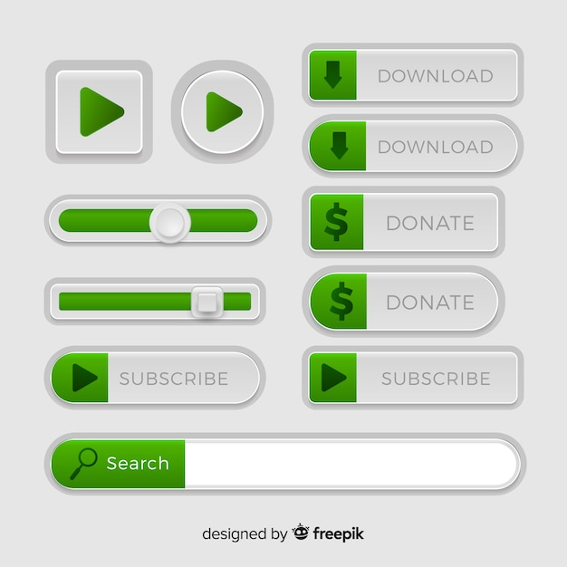 Verschiedene web-buttons im verlaufsstil Kostenlosen Vektoren
