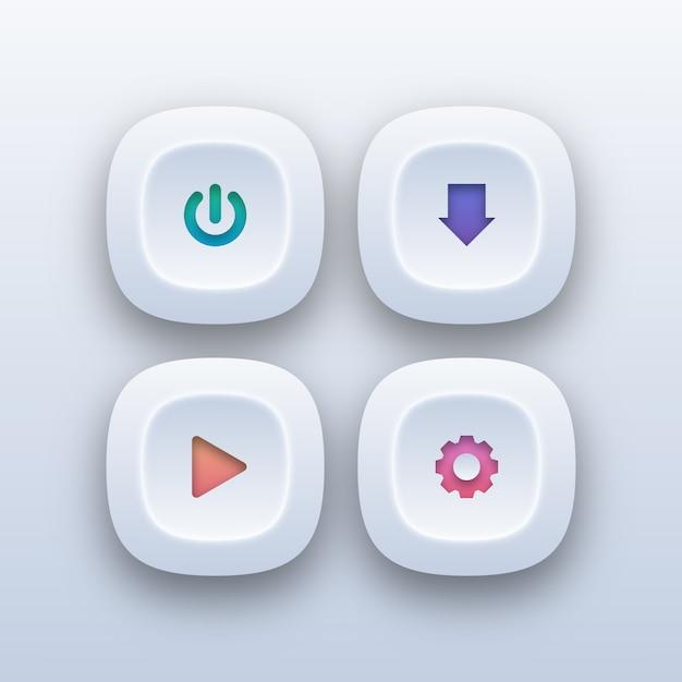 Verschiedene web-buttons im verlaufsstil Premium Vektoren