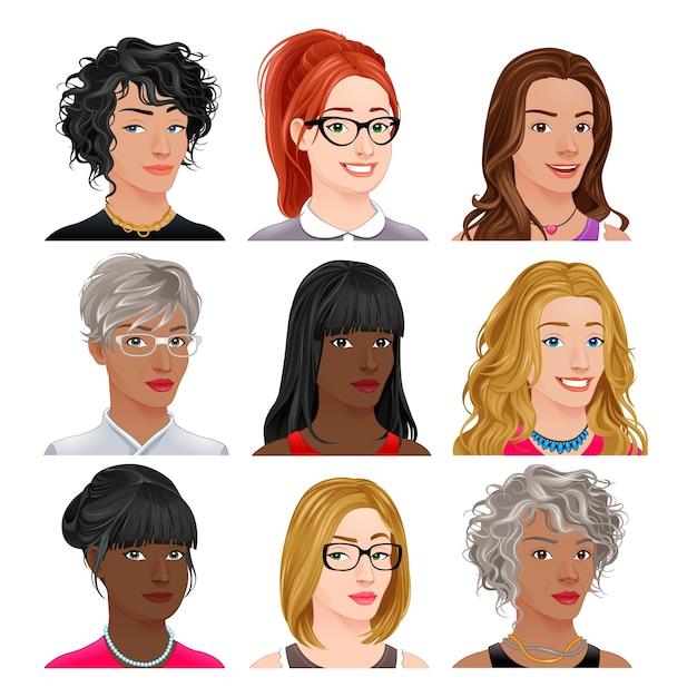 Verschiedene weibliche Avatare Vektor isoliert Zeichen Kostenlose Vektoren