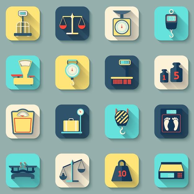 Verschiedene werkzeuge zur messung gewicht Kostenlosen Vektoren