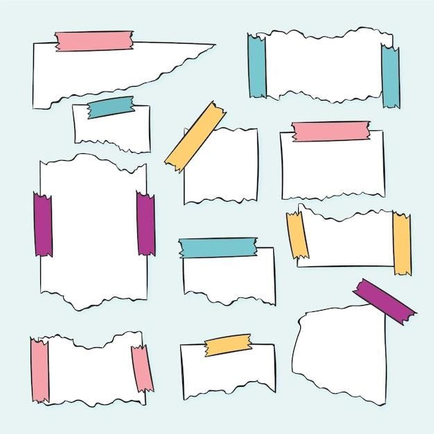 Verschiedene zerrissene papiere mit klebeband Kostenlosen Vektoren
