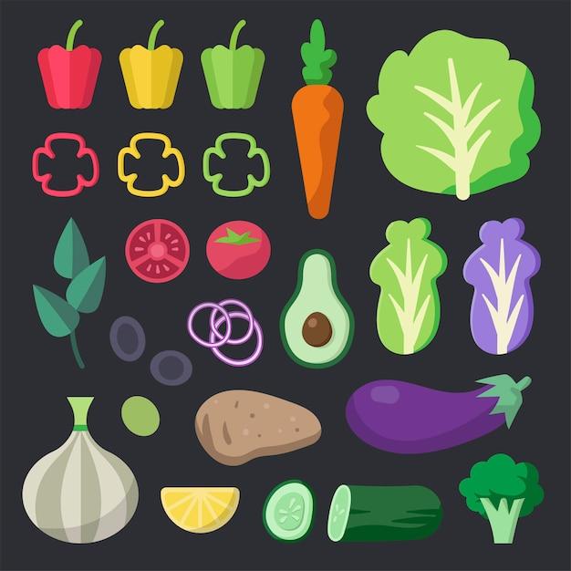Verschiedener frischer organischer gemüsevektorsatz Kostenlosen Vektoren